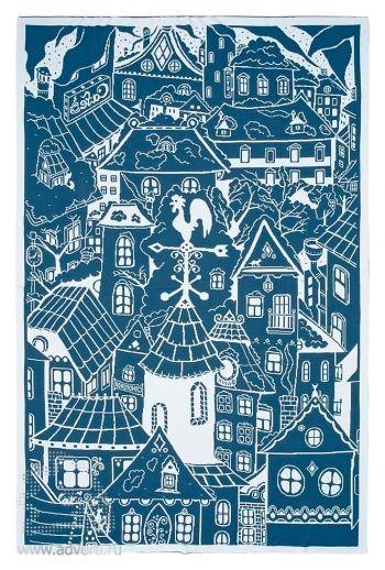 Плед «Город», синий с белым
