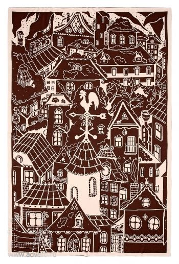 Плед «Город»,  бежево-коричневый, сторона 1