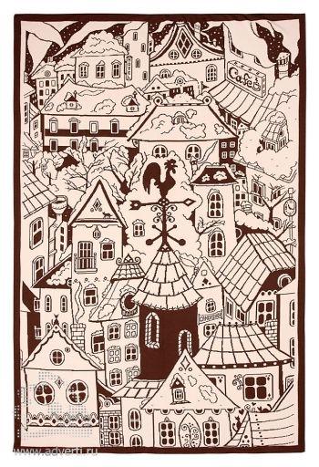 Плед «Город», бежево-коричневый, сторона 2