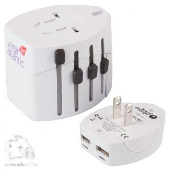 Универсальное сетевое зарядное устройство «Travel Pro USB», переходник