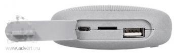«Pebble» беспроводная Bluetooth колонка c внешним аккумулятором, usb разъемы