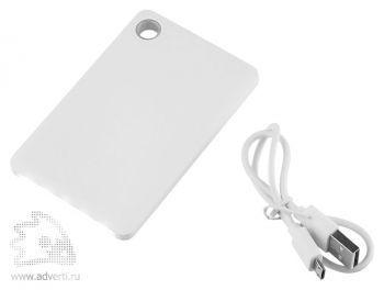 Универсальный внешний аккумулятор «Slim Flashlight Powerbank», 2600 mAh,  светодиодный фонарик и шнур