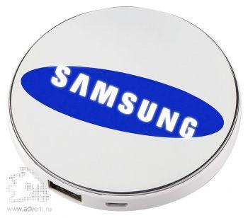 Универсальный внешний аккумулятор «Logo Power Disc», логотип с подсветкой