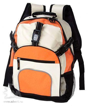 Рюкзак со светоотражателями на замках, оранжевый