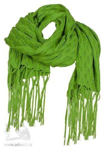 Палантин «Нежные листья», зеленый