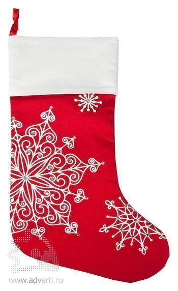 Носок для подарков «Снежинки», красный