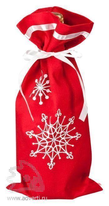 Чехол для шампанского «Снежинки», красный