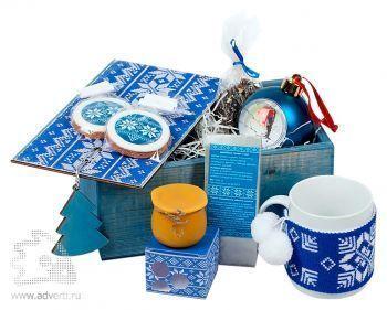 Подарочный новогодний набор «Праздничное чаепитие», синий