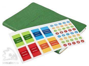 Книга финансиста с набором наклеек-разделителей для страниц и наклеек-пиктограмм