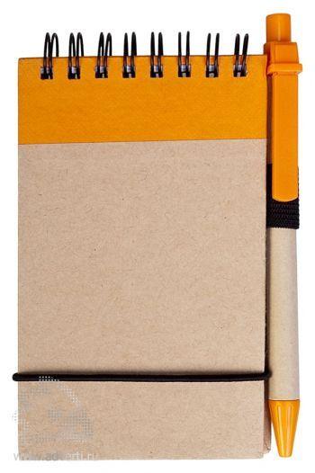 Блокнот на кольцах «Eco note» c ручкой, оранжевый