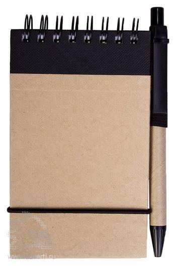 Блокнот на кольцах «Eco note» c ручкой, черный