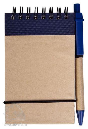 Блокнот на кольцах «Eco note» c ручкой, синий