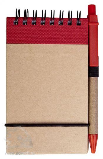 Блокнот на кольцах «Eco note» c ручкой, красный