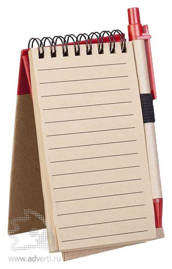 Блокнот на кольцах «Eco note» c ручкой, внутренний блок