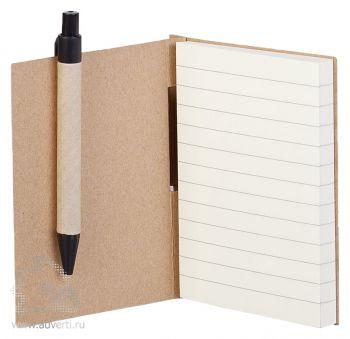 Блокнот «Eco light» c ручкой в расскрытом виде