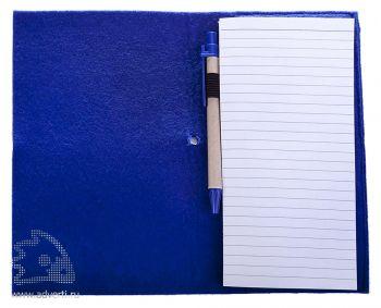 Блокнот «Felt» c ручкой, синий в открытом виде