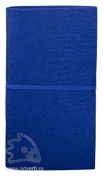 Блокнот «Felt» c ручкой, синий