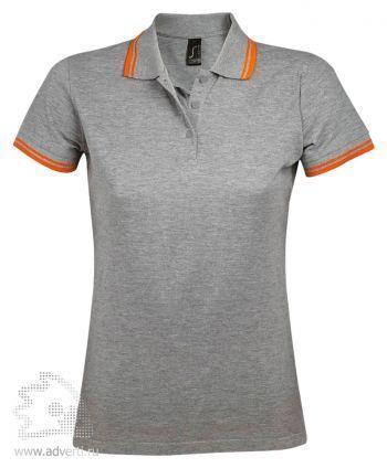 Рубашка поло « Pasadena women 200», женская с контрастной отделкой, Sol's, Франция, меланж с оранжевой окантовкой