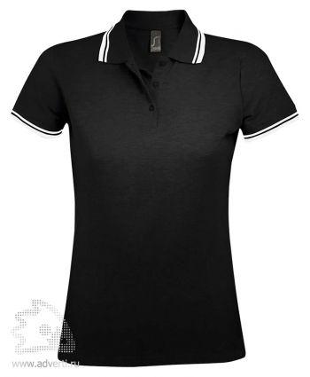 Рубашка поло «Pasadena women 200», женская, черная с белым