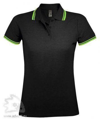 Рубашка поло « Pasadena women 200», женская с контрастной отделкой, Sol's, Франция, черное с зеленой окантовкой