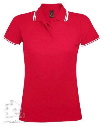 Рубашка поло «Pasadena women 200», женская, красная с белым