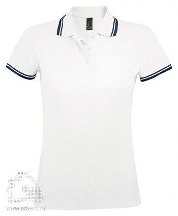 Рубашка поло «Pasadena women 200», женская, белая с синим