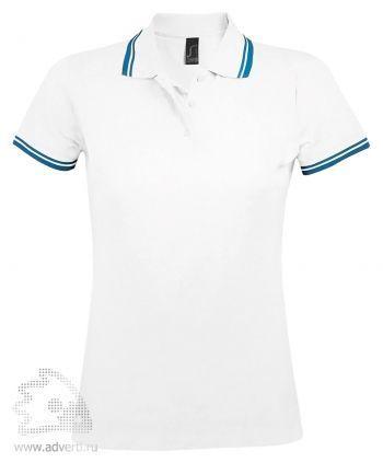 Рубашка поло «Pasadena women 200», женская, белая с голубым
