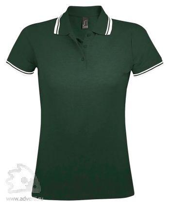 Рубашка поло «Pasadena women 200», женская, зеленая с белым