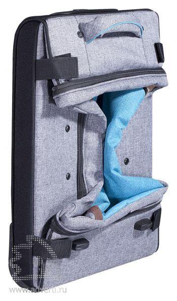 Складной чемодан на колесах «Санто-Доминго», сложенный, вид сбоку