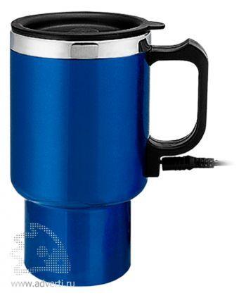 Термокружка электрическая, с питанием от прикуривателя, синяя