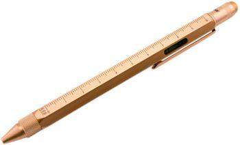 Ручка шариковая «Construction» (TROIKA), мультиинструмент, золотистая