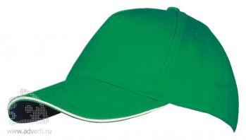 Бейсболка «Long Beach 2», двухцветная, зеленая с белым