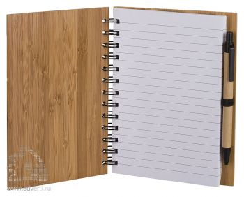 Блокнот на кольцах  «Bamboo Simple» с ручкой, в открытом виде