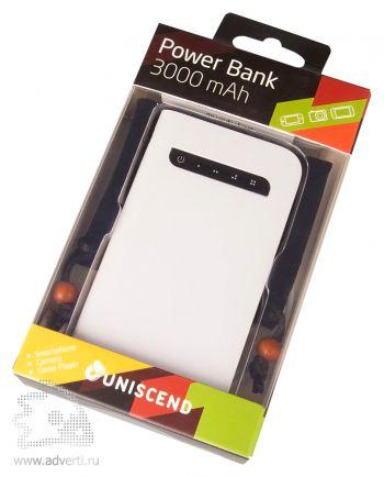 Универсальный внешний аккумулятор «Uniscend Fit » 3000 mAh, упаковка