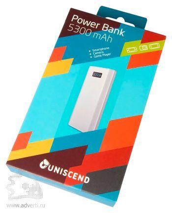 Универсальный внешний аккумулятор «Uniscend Slim» 5300 mAh, упаковка
