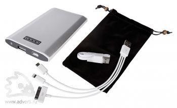 Универсальный внешний аккумулятор «Uniscend Slim» 5300 mAh, переходники