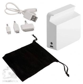 Универсальный внешний аккумулятор «Stand Up» 5200 mAh, набор переходников