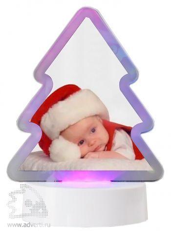 Фоторамка с подсветкой «Елочка», розовая подсветка