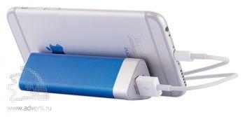 Зарядное устройство треугольной формы с присосками, синее, с телефоном