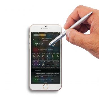 Тонкая металлическая ручка-стилус, пример использования