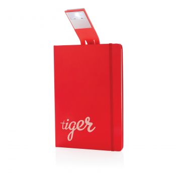 Блокнот с закладкой-фонариком, красный, с нанесением