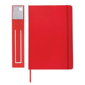 Блокнот с закладкой-фонариком, красный, с одной стороны