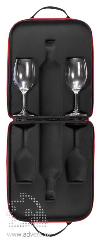 Кейс «Swirl» для бутылки вина и двух бокалов, открытый