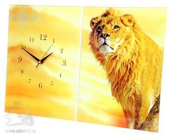 Часы-панно стеклянные прямоугольные из двух половинок, 400х280 мм