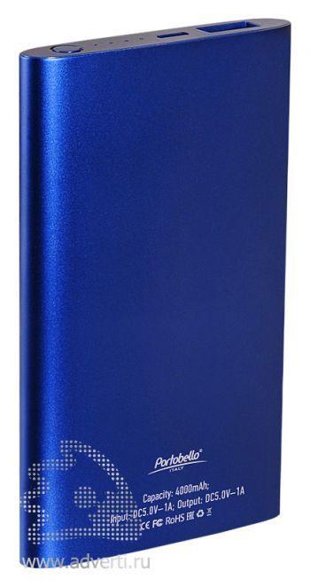 Внешний аккумулятор «Ocean PB» 4000 mAh, синий, оборот