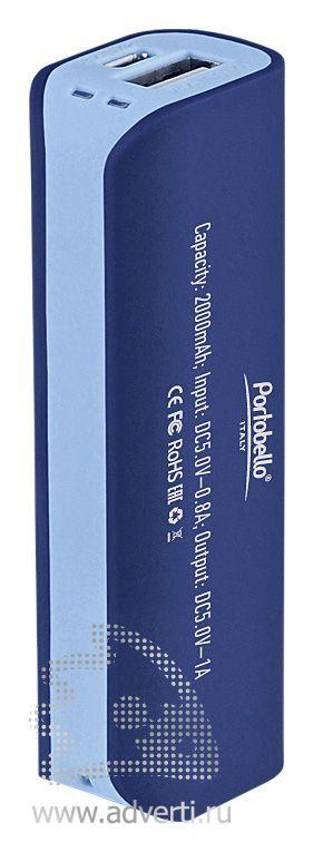 Внешний аккумулятор «Aster PB» 2000 mAh, синий с голубым, оборот