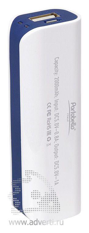 Внешний аккумулятор «Aster PB» 2000 mAh, белый с синим, оборот