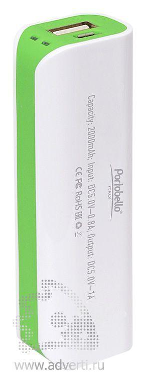 Внешний аккумулятор «Aster PB» 2000 mAh, белый с зеленым, оборот