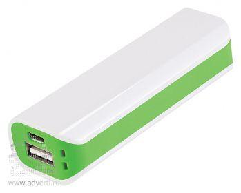 Внешний аккумулятор «Aster PB» 2000 mAh, белый с зеленым