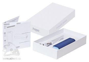 Внешний аккумулятор «Aster PB» 2000 mAh, синий с голубым в подарочной коробке